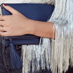 GiGi New York | Navy Leather Embossed Clutch